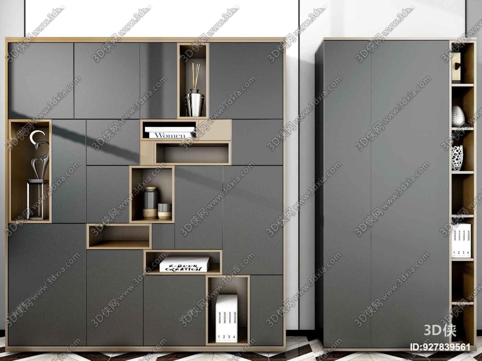 现代风格书柜  效果图素材免费下载,本作品主题是现代轻奢装饰柜书柜