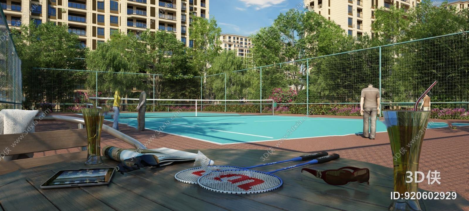 效果圖素材免費下載,本作品主題是現代羽毛球場3d模型,編號是