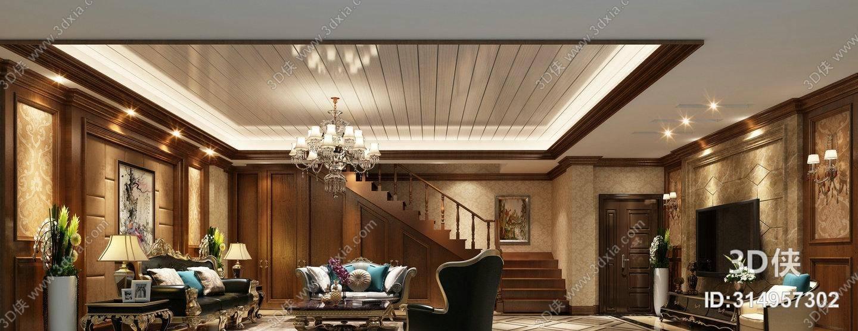 经典欧式沙发茶几组合3d模型【id:314957302】_3d侠