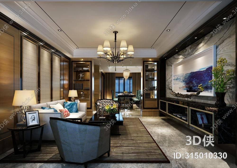 欧式简约沙发茶几组合3d模型【id:315010330】_3d侠