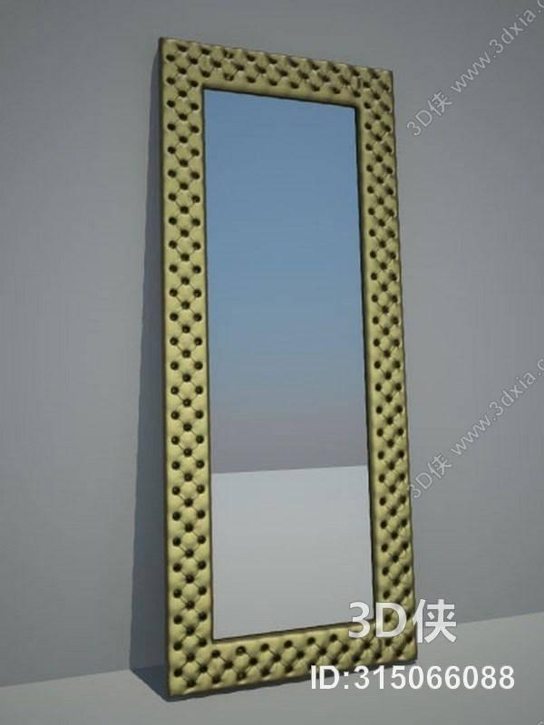 穿衣镜效果图素材免费下载,本作品主题是金色长方形穿衣镜,编号是3150