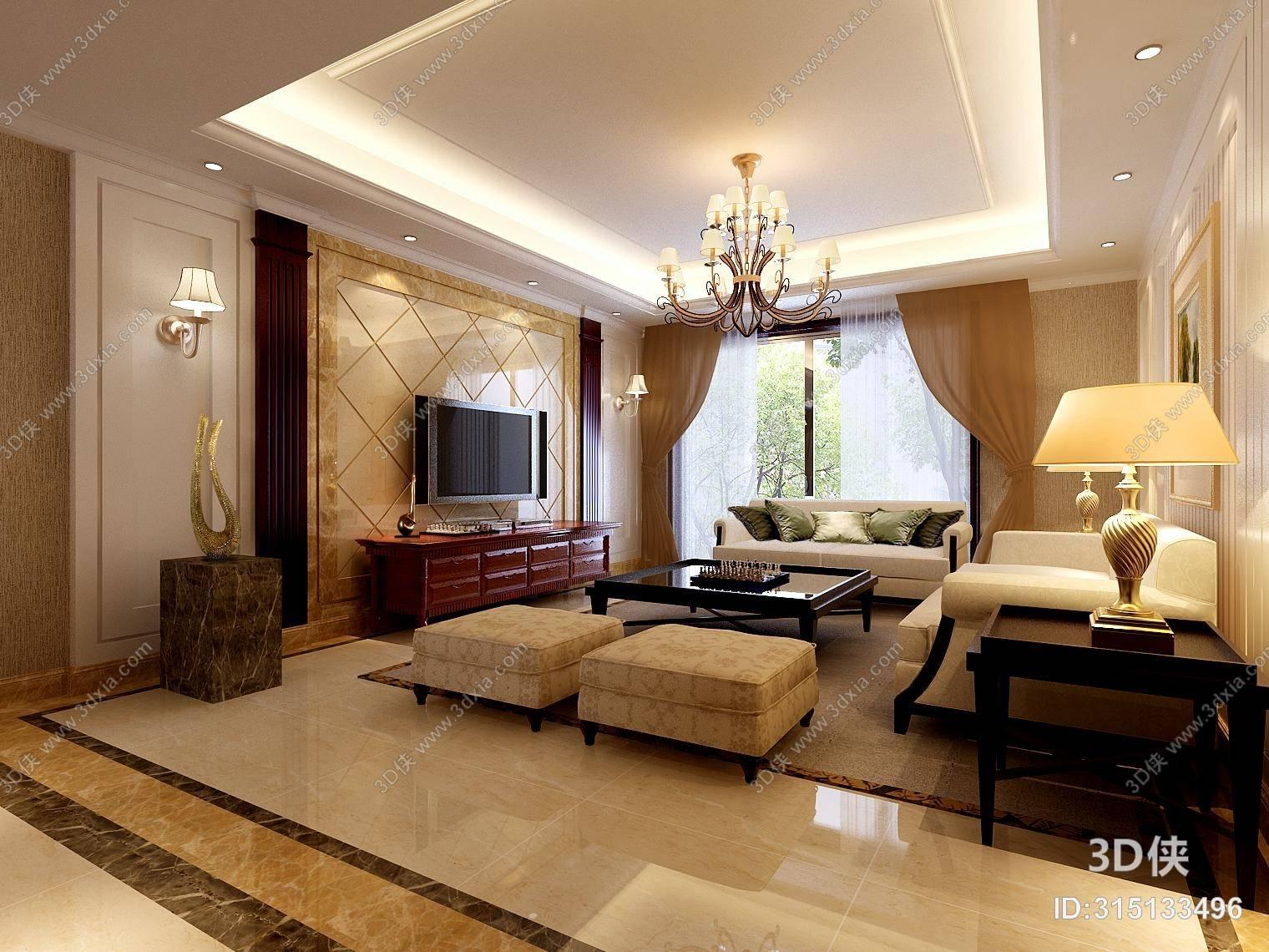 欧式简约米色布艺餐桌椅组合 欧式简约暖色家居客厅 美式简约白色家居