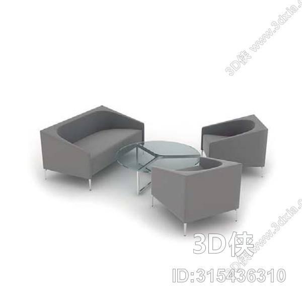 效果图素材免费下载,本作品主题是现代灰色布艺沙发茶几组合,编号是