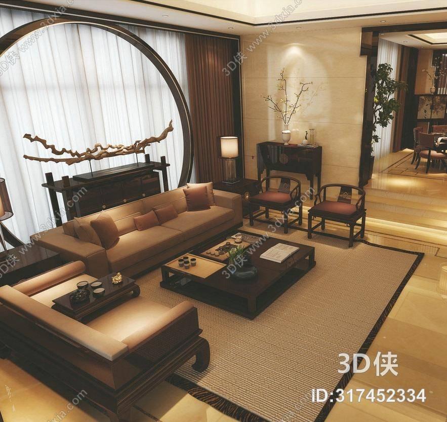 效果图素材免费下载,本作品主题是新中式棕色皮质沙发茶几组合,编号是