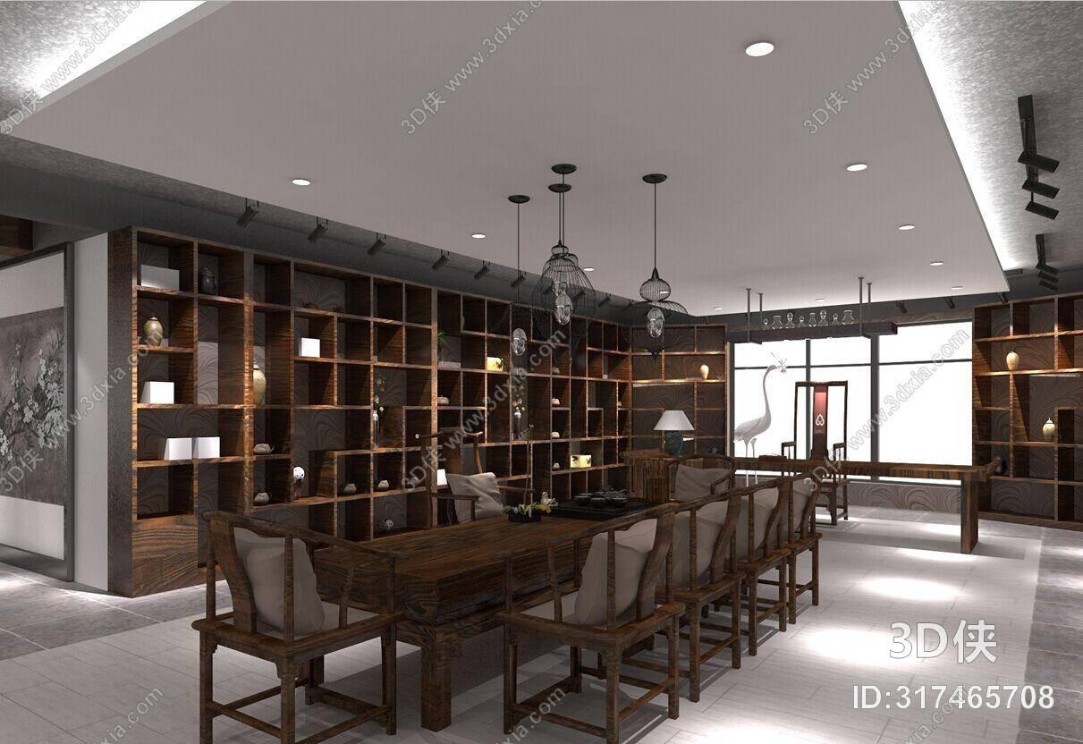 新中式茶室 新中式黑色铁艺吊灯组合 新中式包厢 新中式棕色木艺餐桌