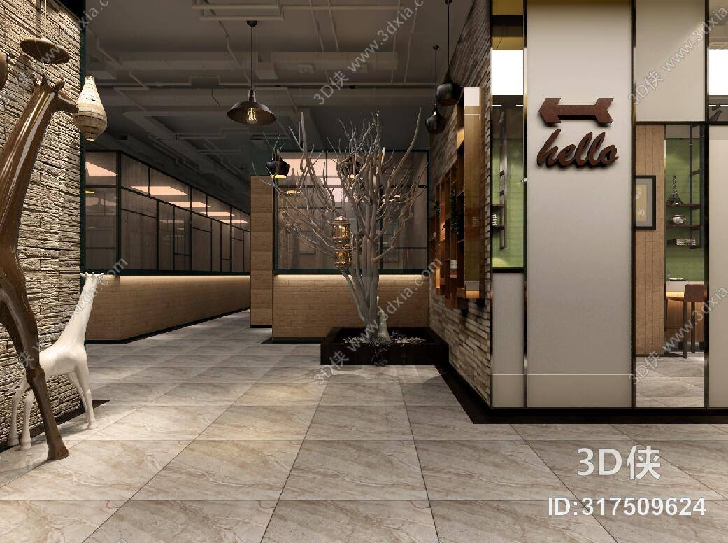 效果图素材免费下载,本作品主题是美式简约咖啡厅 美式简约棕色布艺