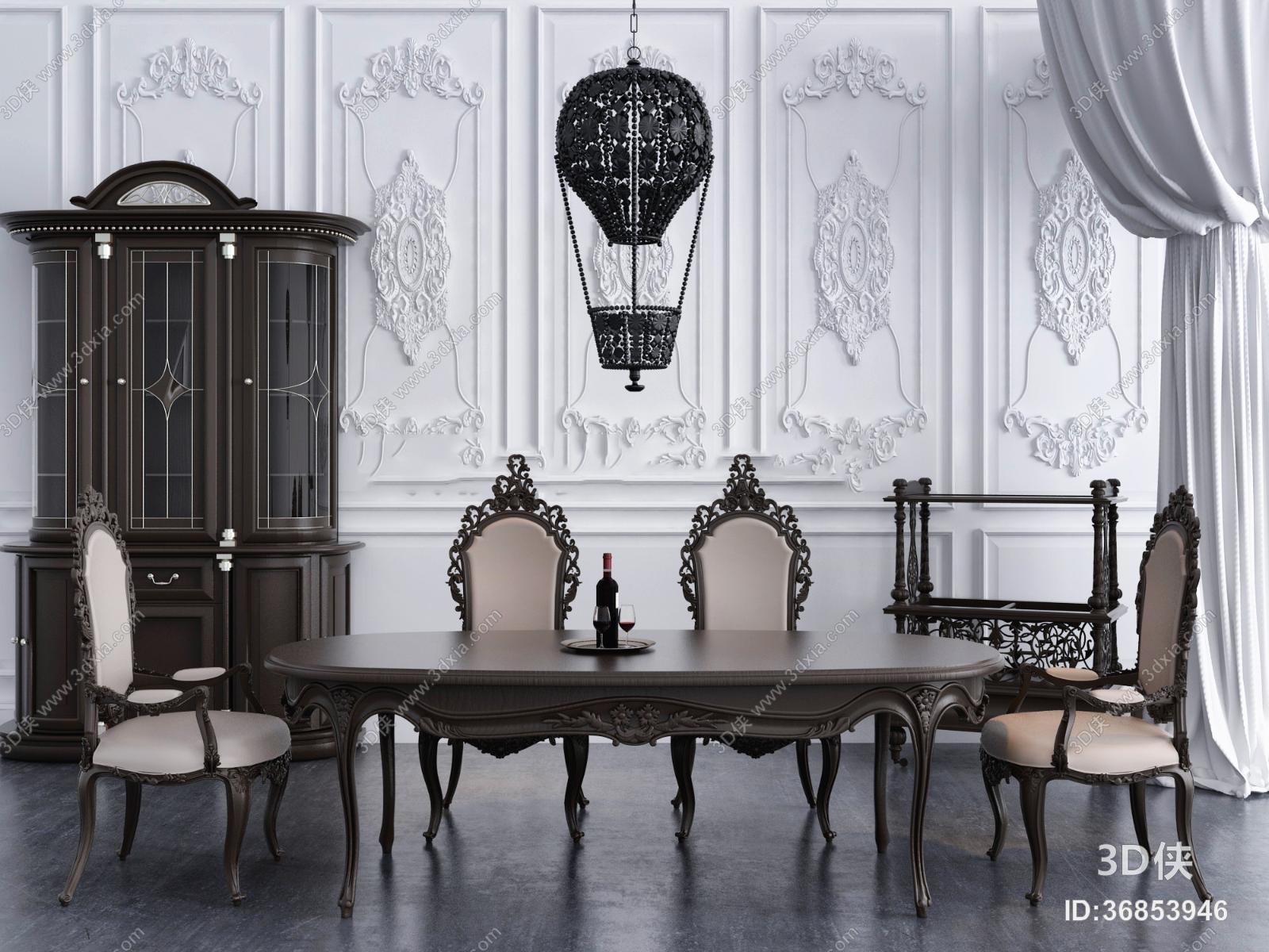 欧式实木椭圆餐桌椅吊灯组合3D模型