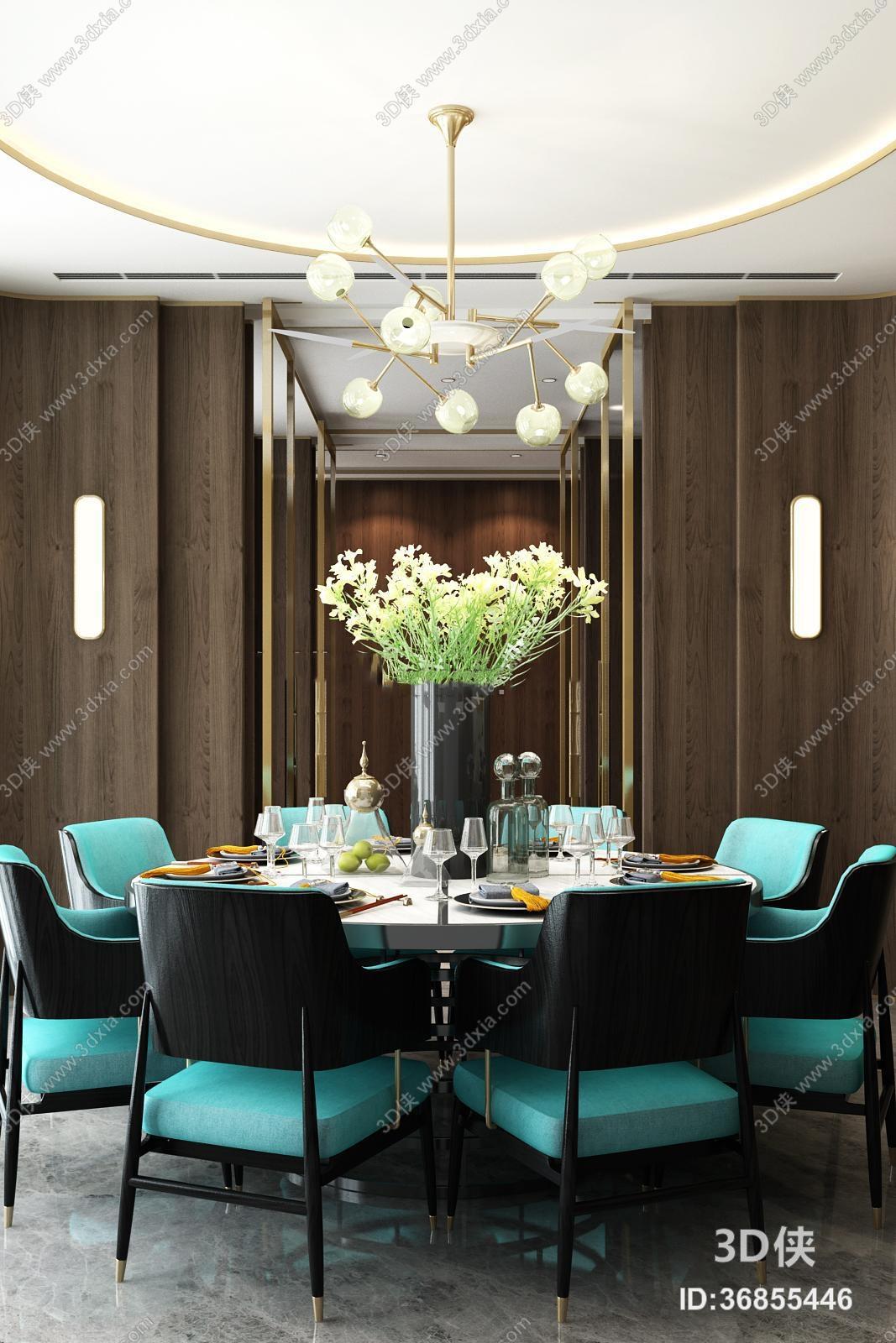 现代圆形餐桌椅金属吊灯组合3D模型
