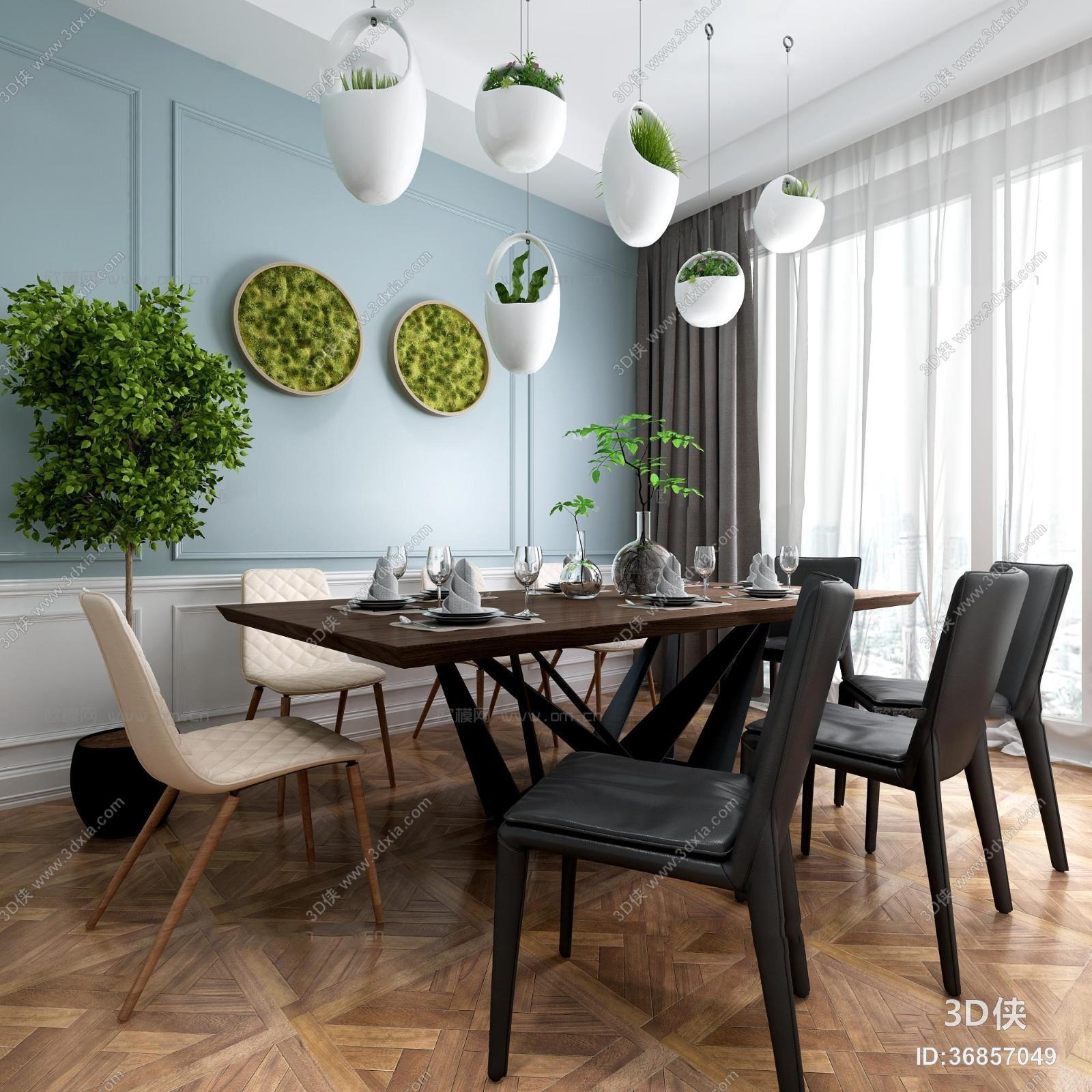 现代餐桌椅餐具盆栽组合3D模型