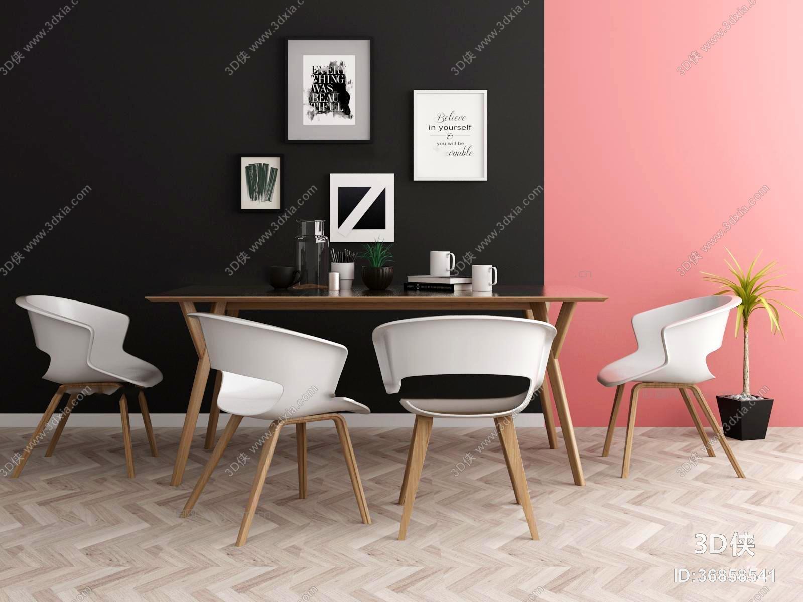 现代餐桌椅装饰画组合3D模型