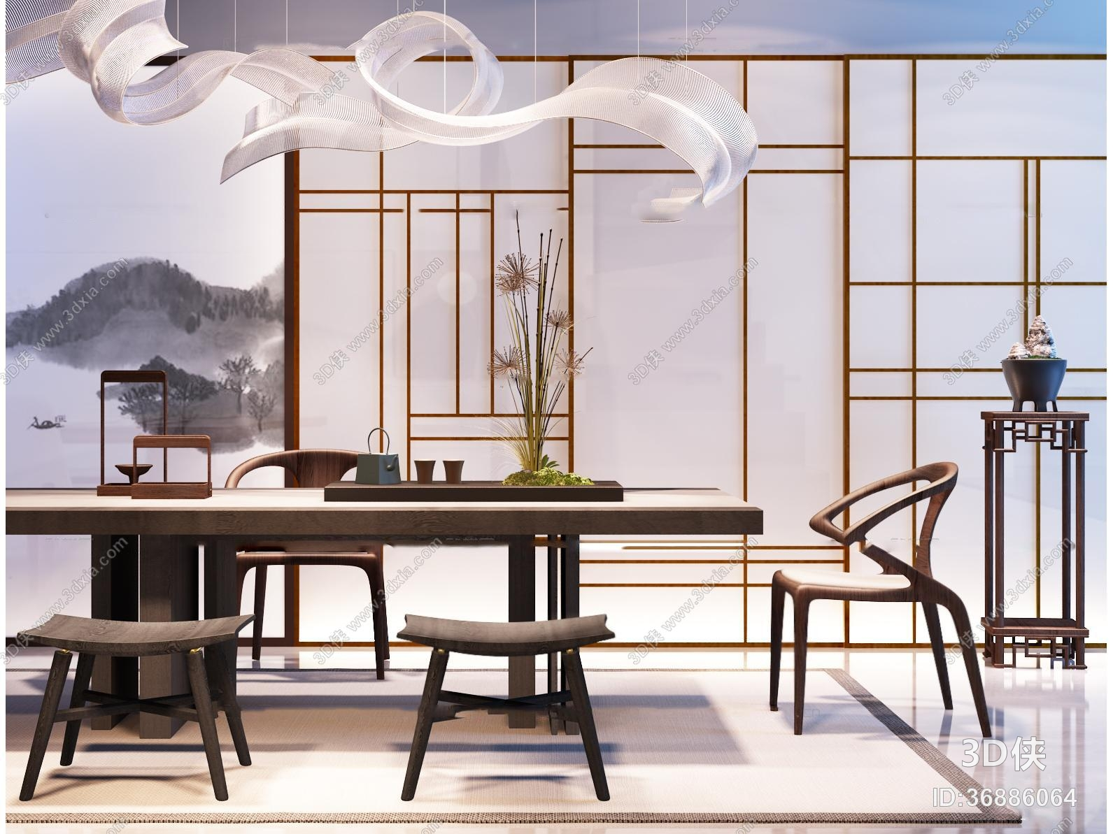 休闲桌椅组合效果图素材免费下载,本作品主题是中式茶桌椅子吊灯屏风