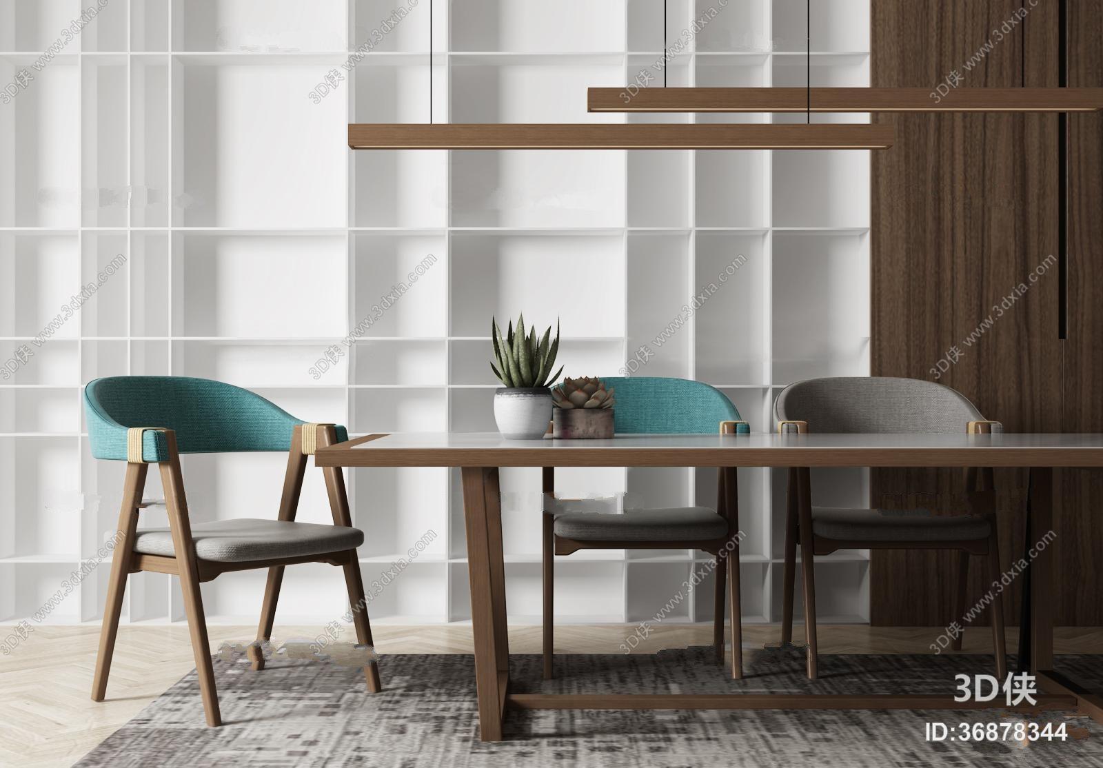 北欧实木餐桌椅吊灯盆栽组合3D模型