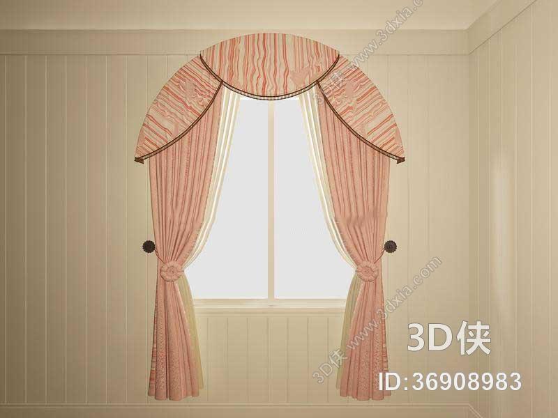 效果图素材免费下载,本作品主题是地中海风格粉色布艺窗帘地中海 窗户