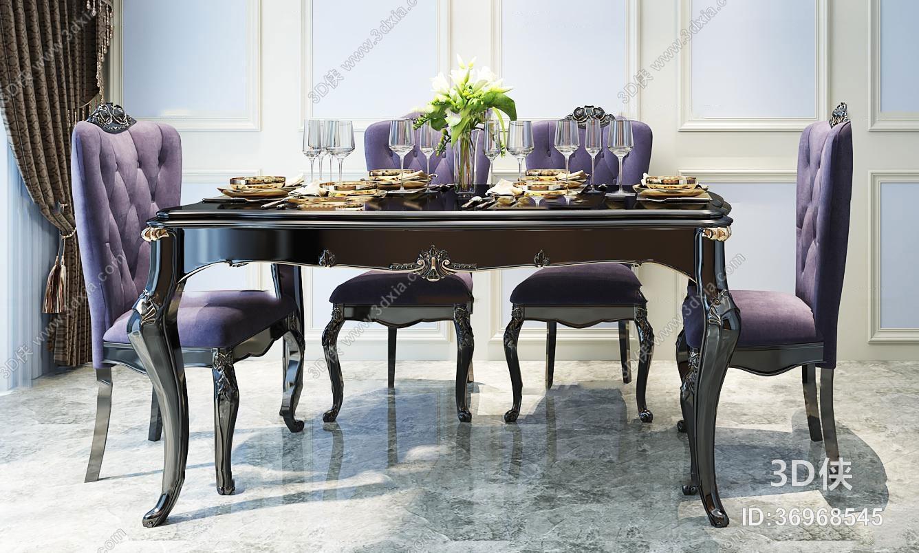 欧式餐桌椅3d模型 _3d侠模型网