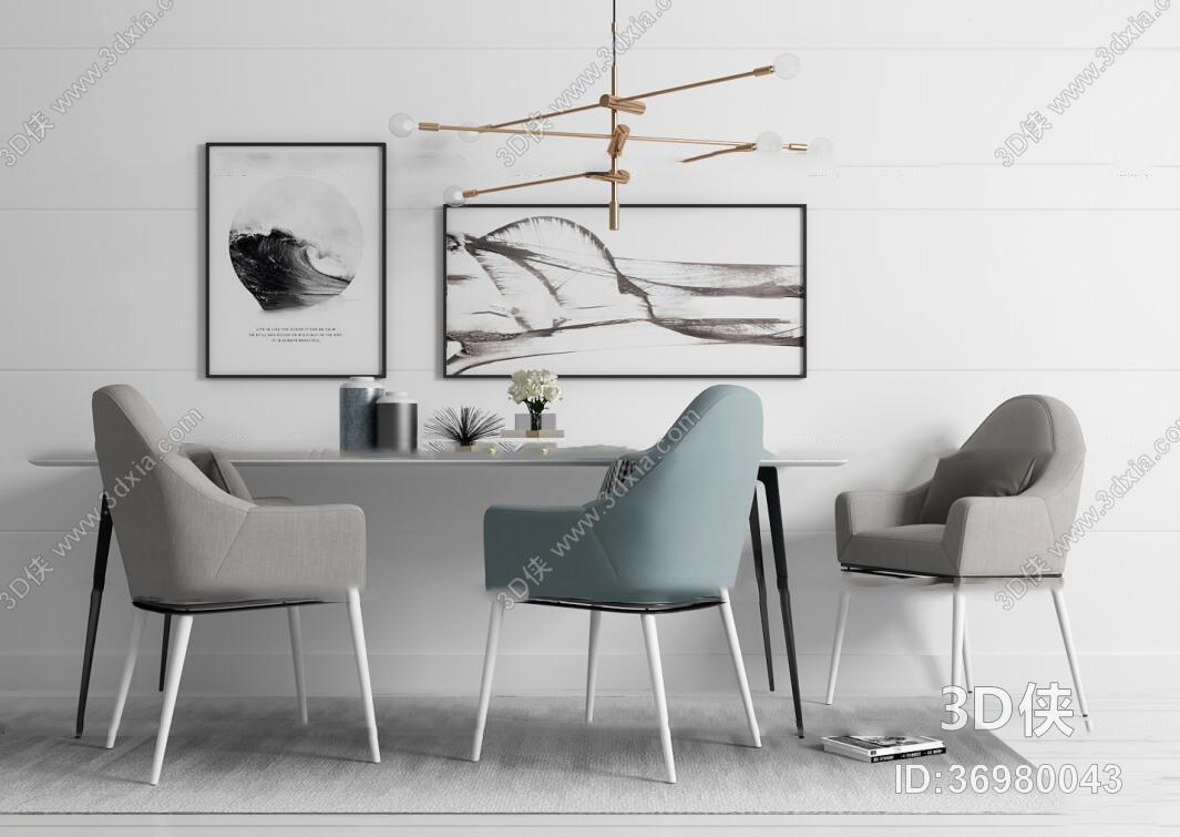 餐桌效果图素材免费下载,本作品主题是现代餐桌椅吊灯装饰画摆件3d