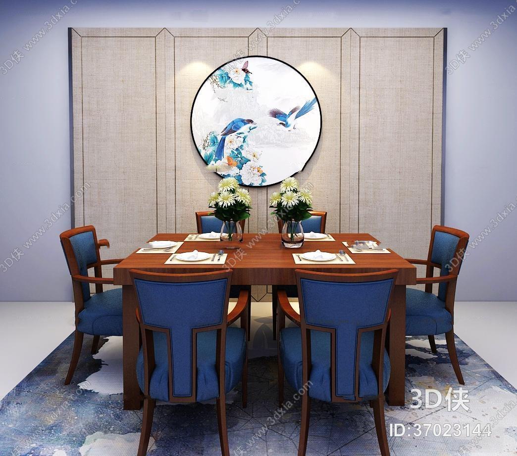 餐桌效果图素材免费下载,本作品主题是新中式实木餐桌椅餐具组合3d