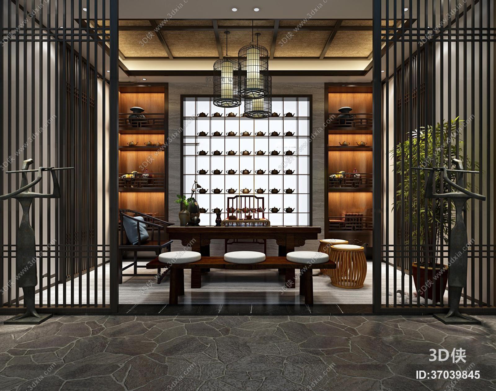 其它综合效果图素材免费下载,本作品主题是中式茶室3d模型,编号是3703