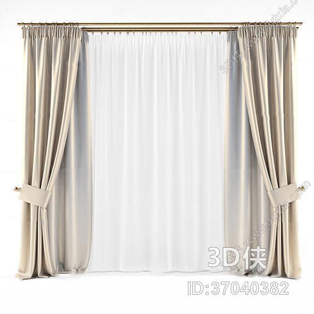 现代双层布艺窗帘3D模型