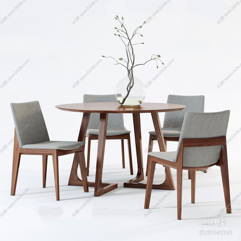 现代圆形餐桌椅组合3D模型