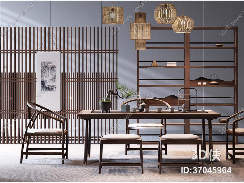 新中式实木泡茶桌椅吊灯屏风组合3D模型