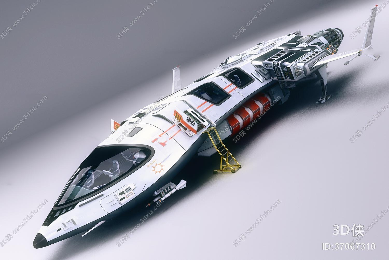 效果图素材免费下载,本作品主题是现代未来科幻飞船3d模型,编号是3706