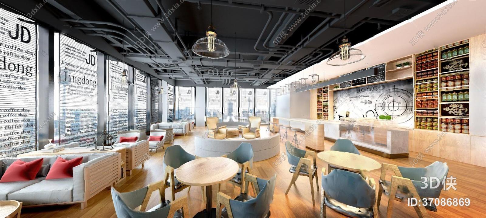 3d侠模型网提供精美好看的 效果图素材免费下载,本作品主题是咖啡厅