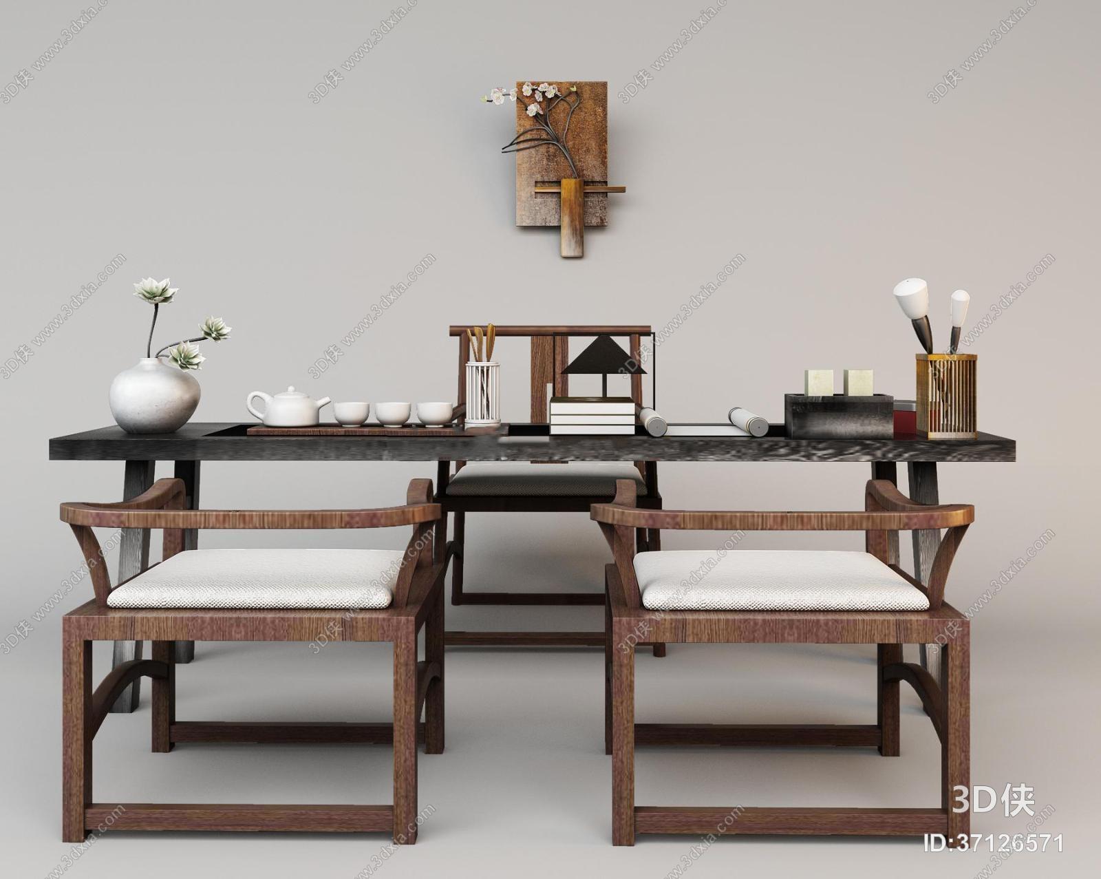 书桌椅效果图素材免费下载,本作品主题是中式茶台桌椅组合3d模型,编号