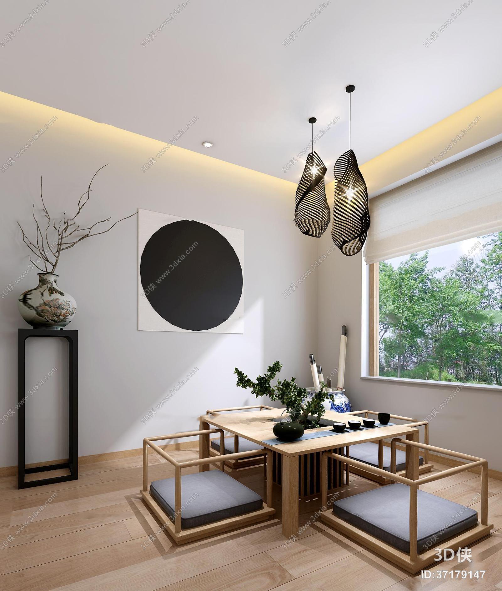 其它综合效果图素材免费下载,本作品主题是日式茶室3d模型,编号是