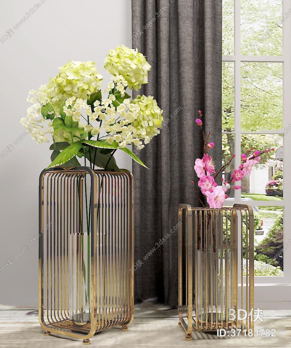 盆栽效果图素材免费下载,本作品主题是现代金属装置花艺组合3d模型,编