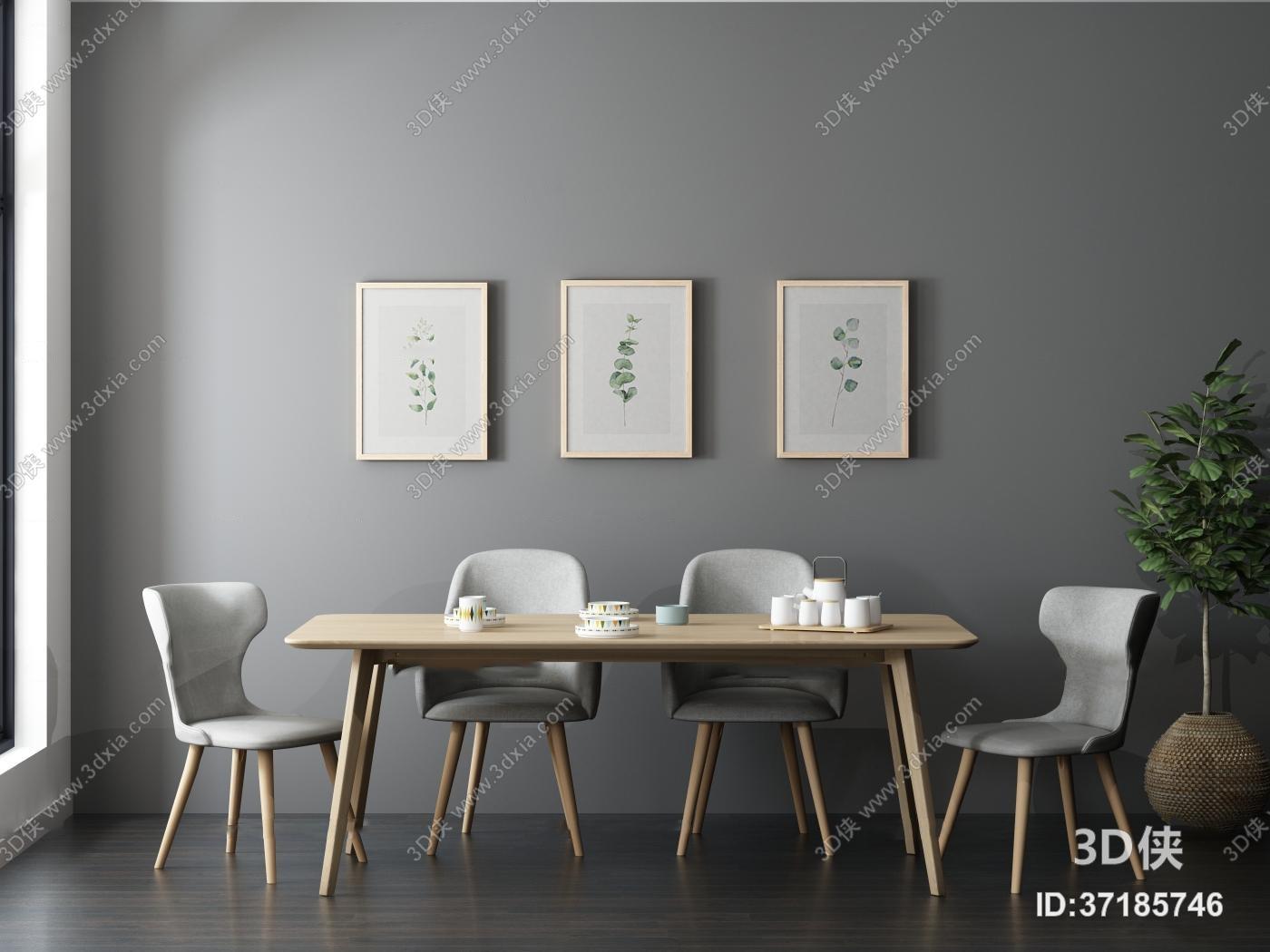 北欧餐桌椅挂画组合3d模型
