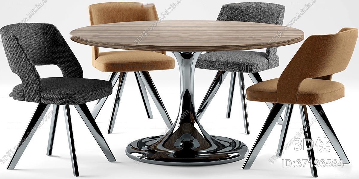 现代实木圆形桌椅组合3d模型【id:37193564】