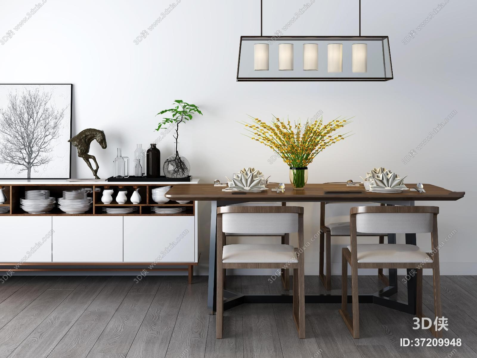 现代餐桌椅餐边柜组合3D模型