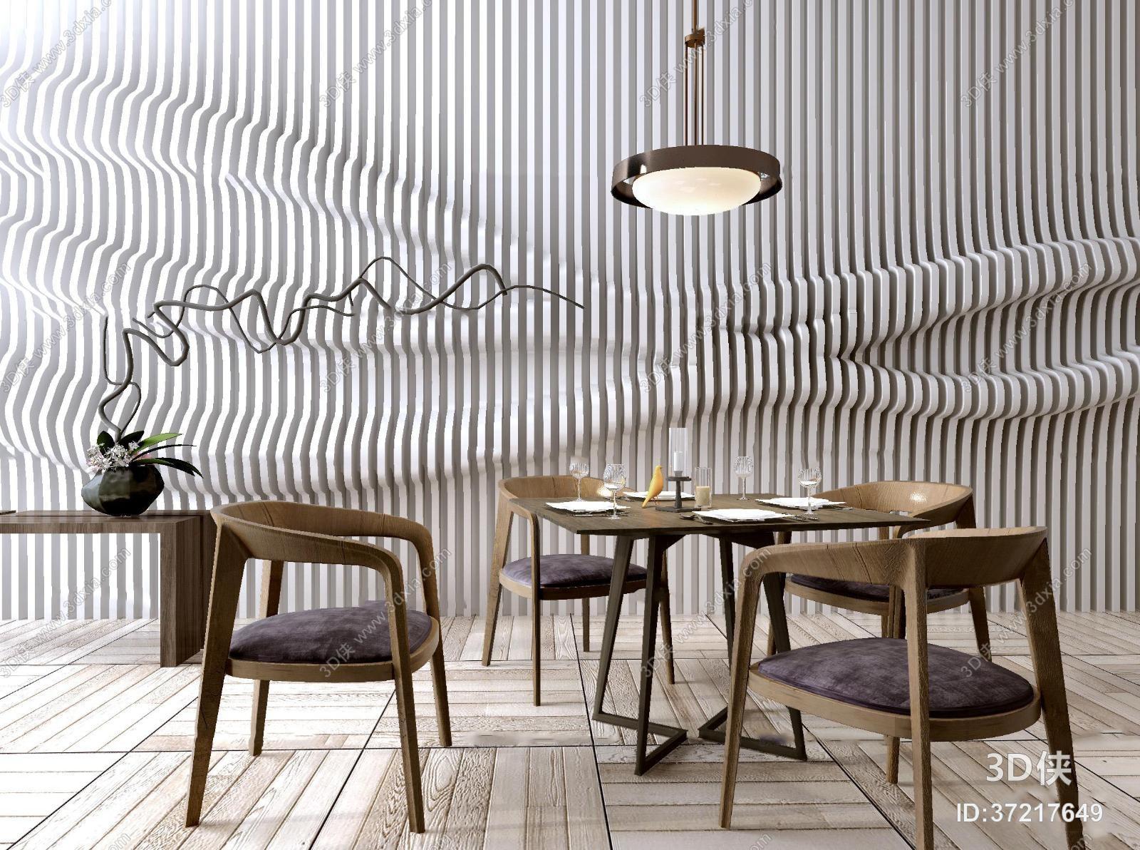 新中式实木餐桌椅吊灯组合3D模型
