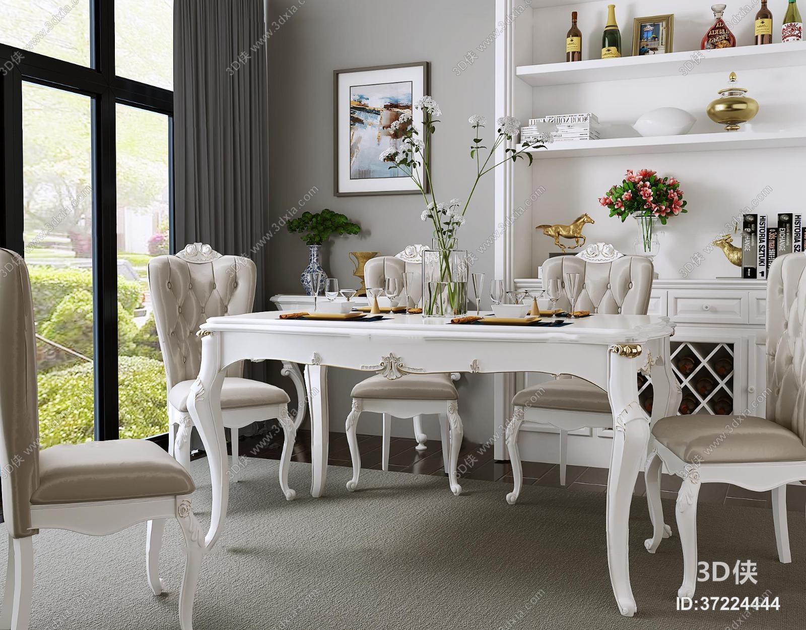 欧式餐桌椅餐具装饰柜摆件组合3D模型