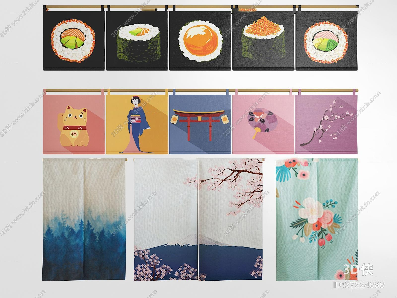 窗帘家纺效果图素材免费下载,本作品主题是日式门帘窗帘挂帘组合3d