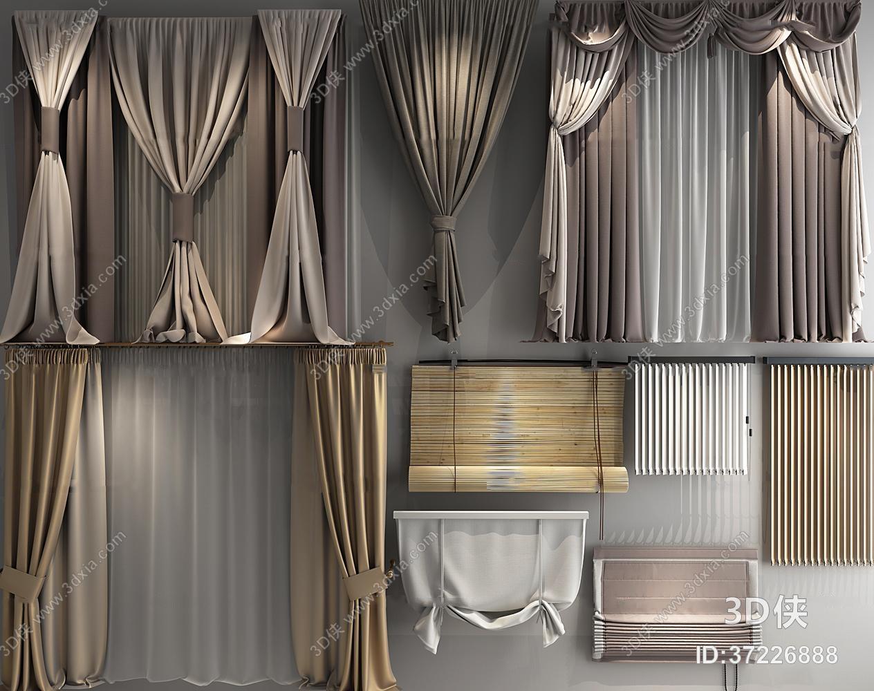 窗帘家纺效果图素材免费下载,本作品主题是现代窗帘布帘卷帘纱帘组合