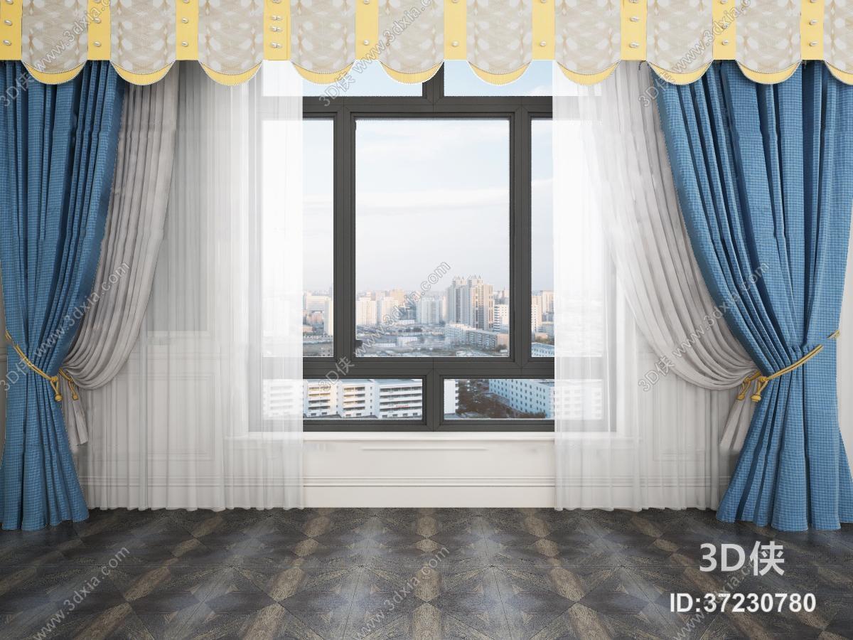 窗帘家纺效果图素材免费下载,本作品主题是简美窗户窗帘窗纱3d模型,编