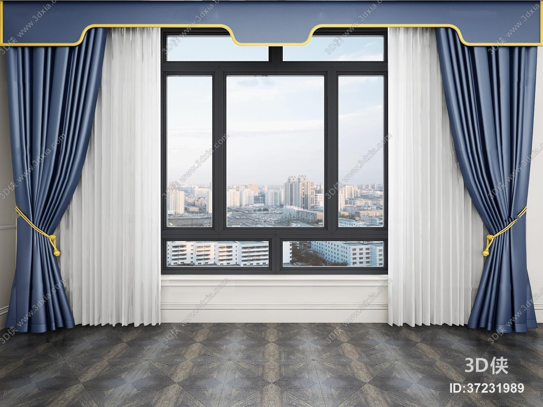 窗帘家纺效果图素材免费下载,本作品主题是现代窗户窗帘窗纱3d模型