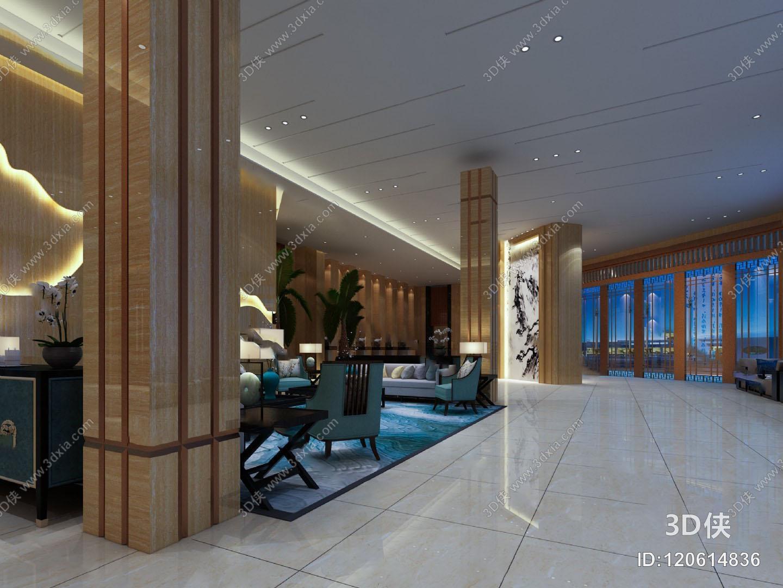 中式大厅3D模型