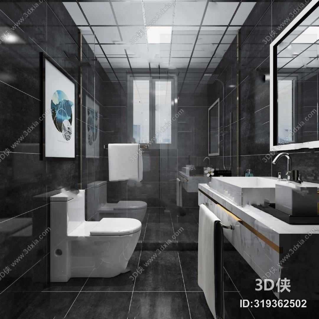 效果图素材免费下载,本作品主题是现代卫生间3d模型 洗手台 马桶 浴室