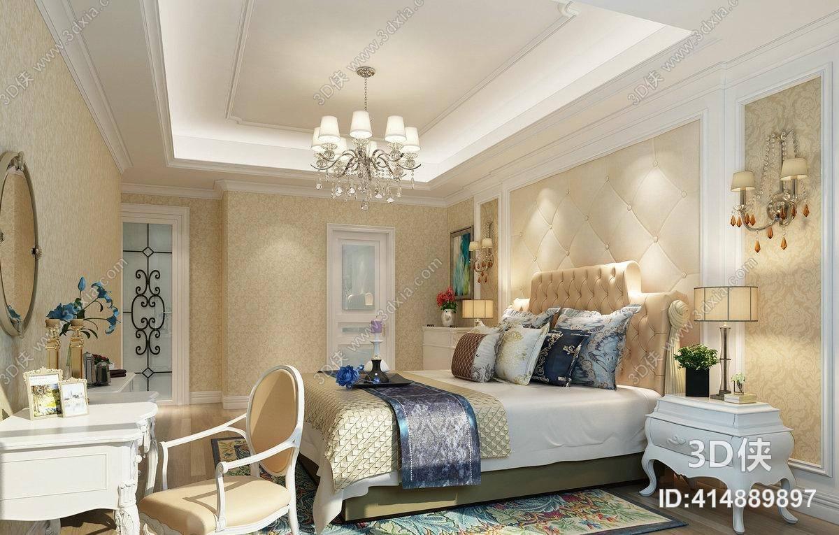 欧式新古典家居卧室 经典欧式银色水晶吊灯 白色长方形木艺床头柜