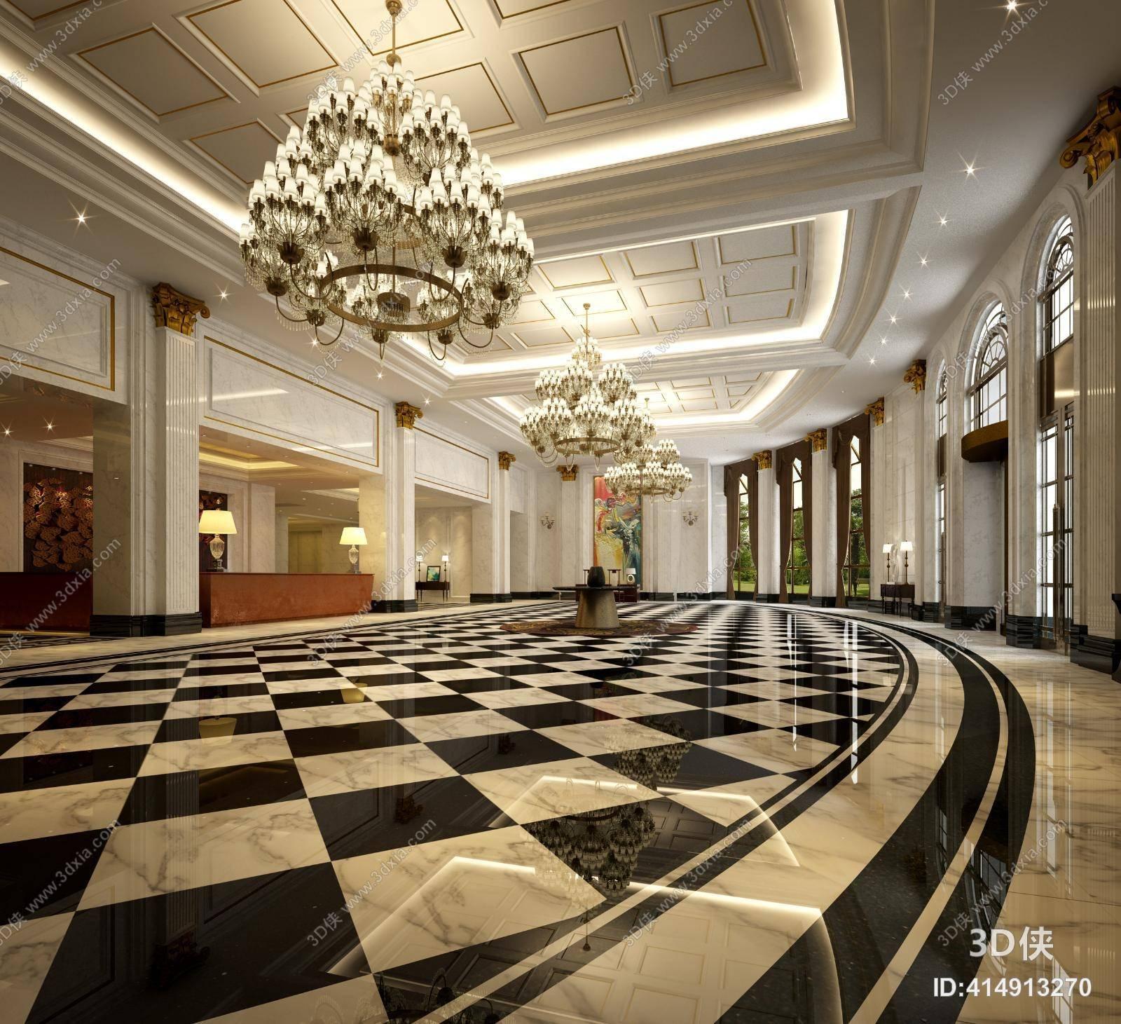 经典欧式酒店大堂3d模型【id:414913270】