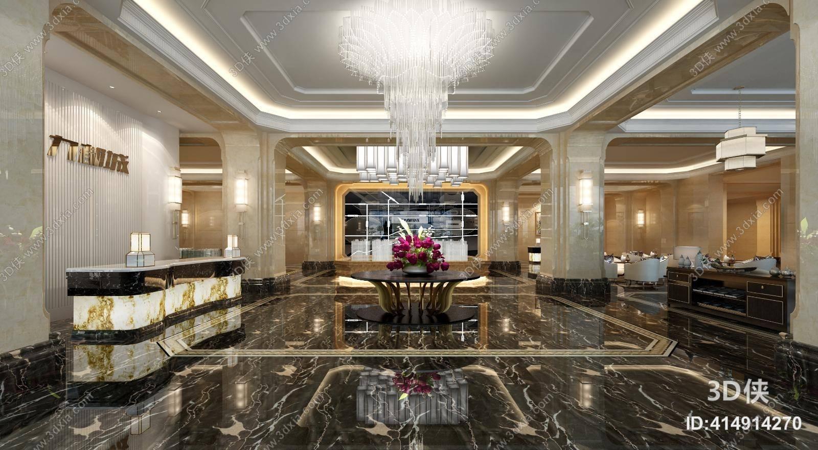 酒店大堂效果图素材免费下载,本作品主题是经典欧式酒店大堂 现代玻璃