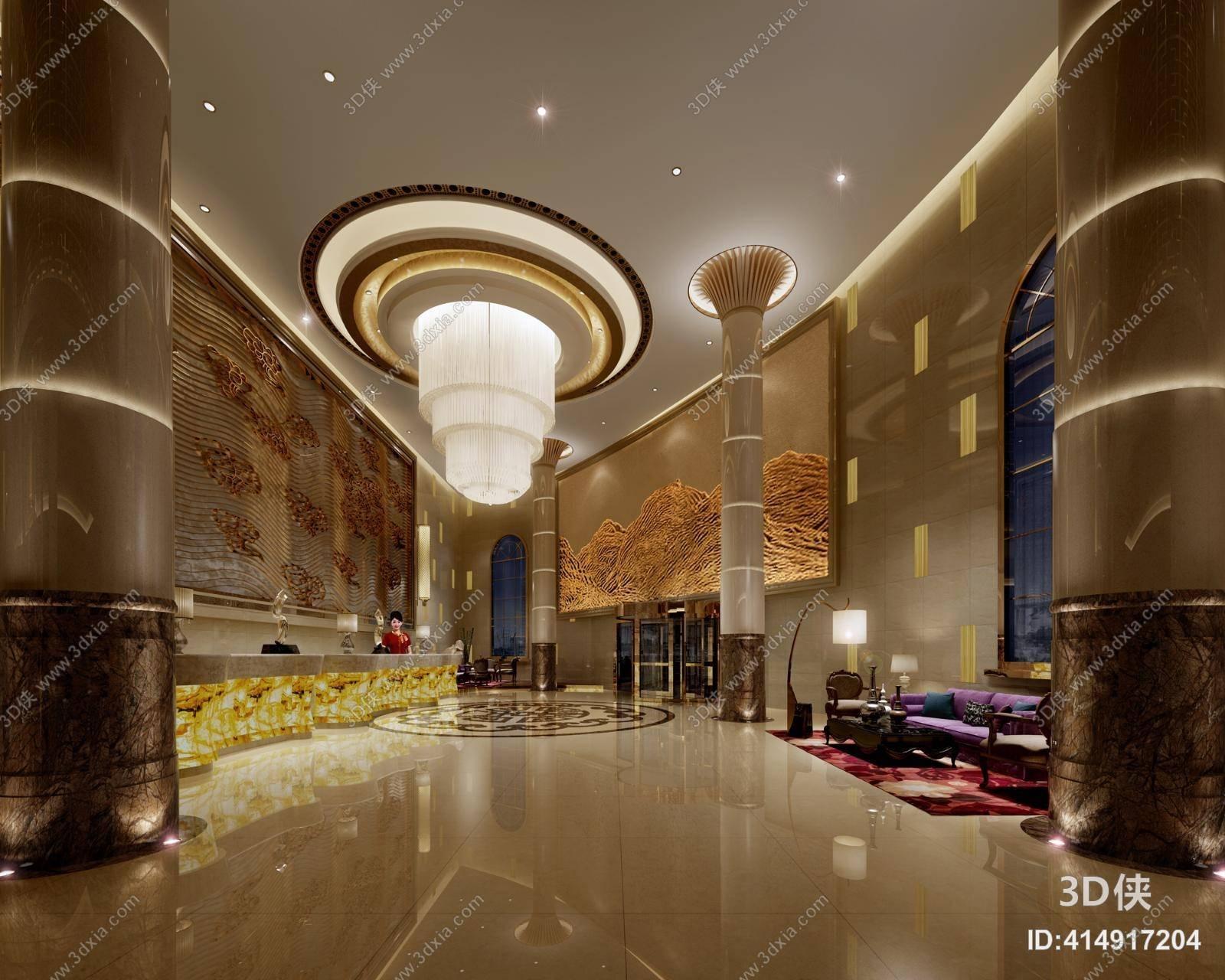 现代酒店大堂 经典欧式酒店休息区 现代白色吊灯