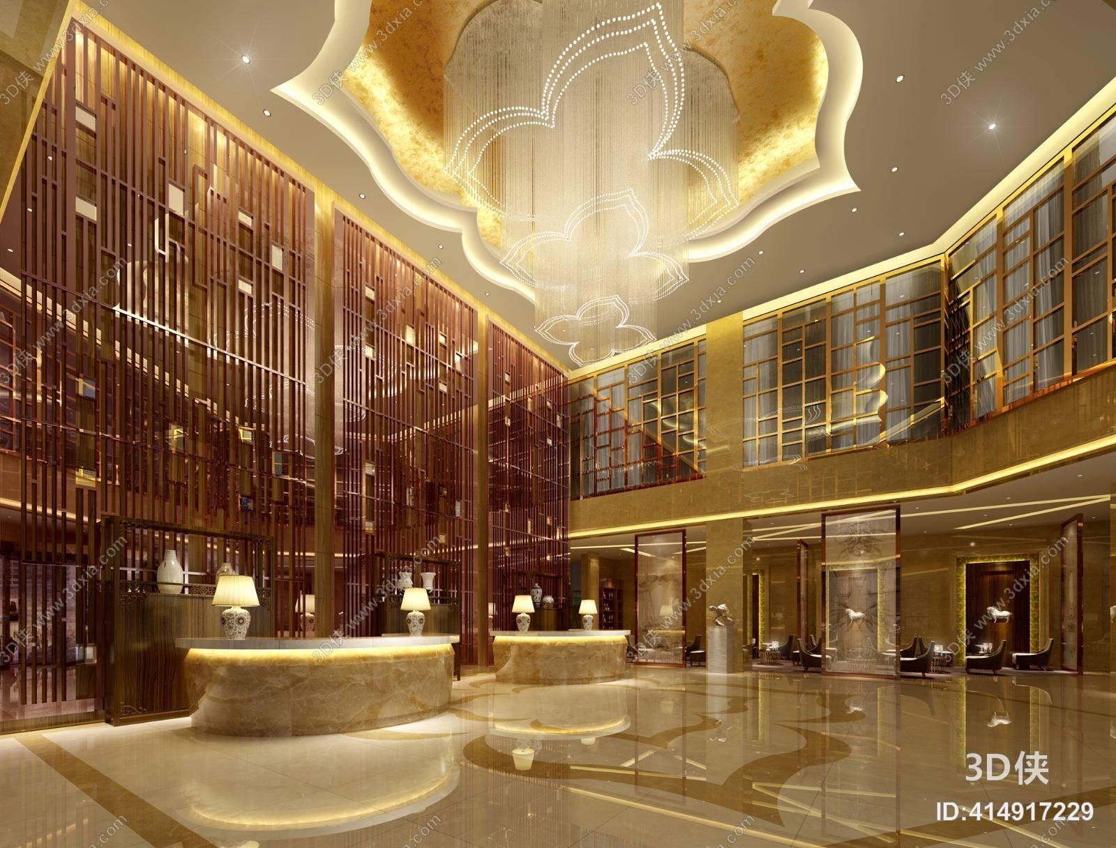 新中式酒店大堂3d模型【id:414917229】图片