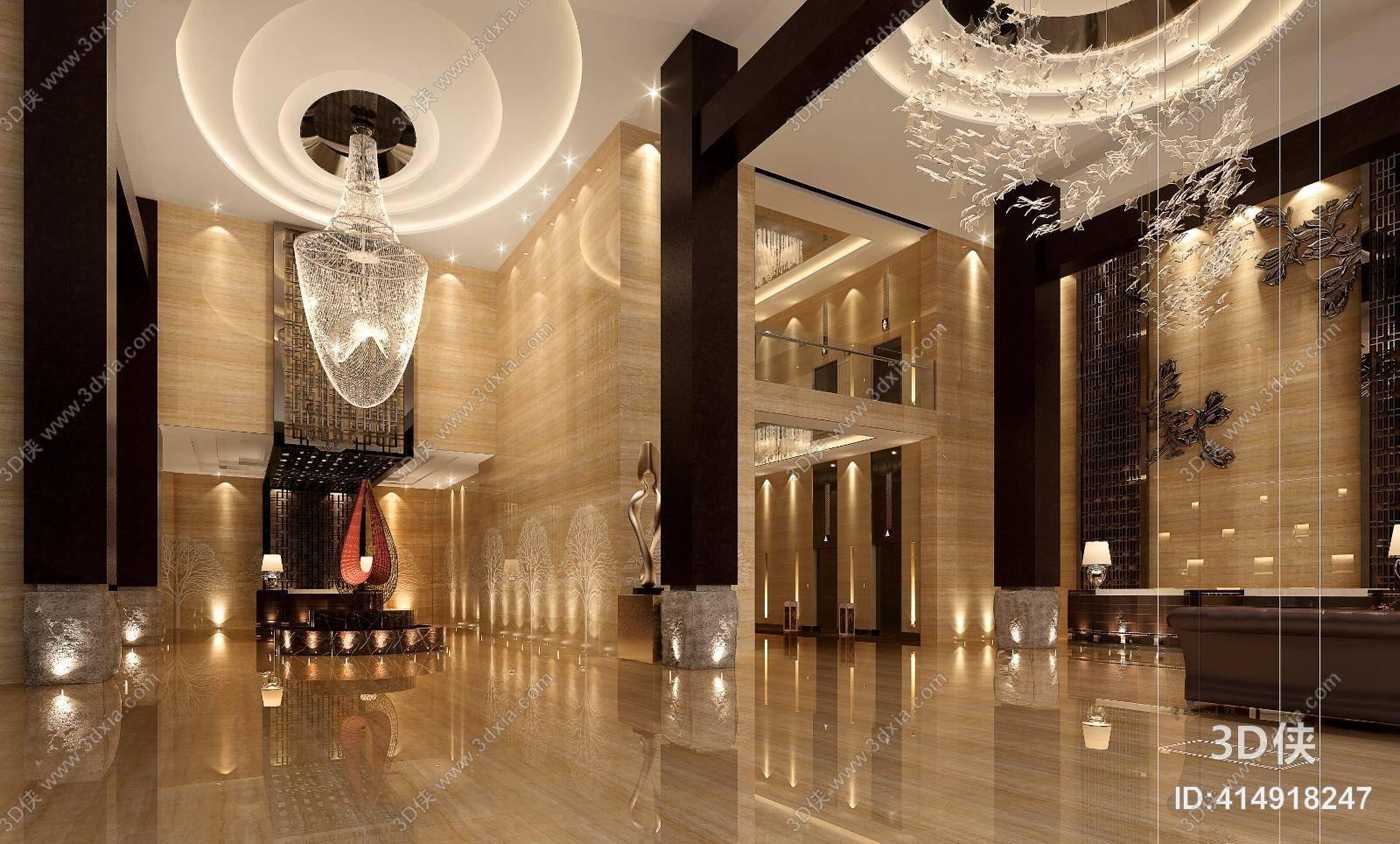 现代酒店大堂 新中式木艺装饰墙 星星型玻璃装饰品挂件