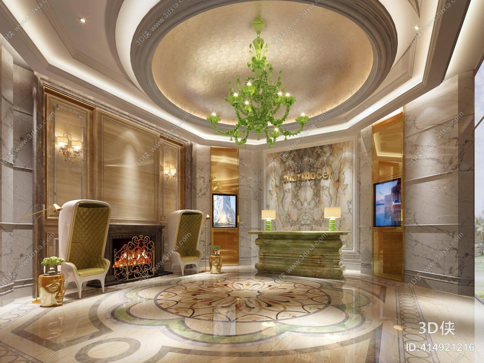 现代白色蛋壳椅 现代绿色大理石前台桌 长方形大理石壁炉装饰墙