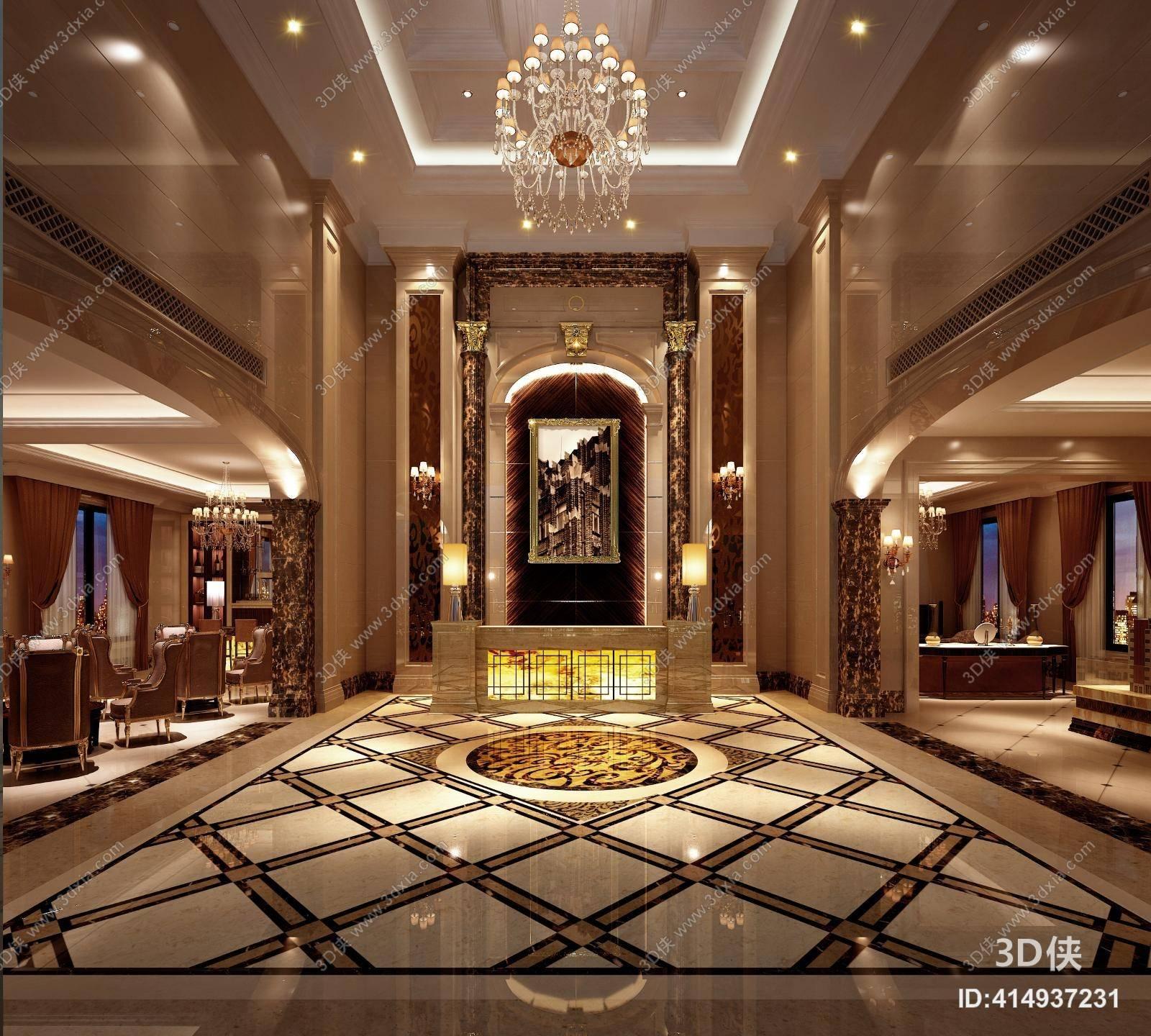 经典欧式酒店大堂3d模型【id:414937231】