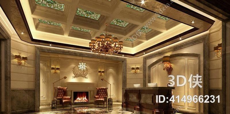 经典欧式酒店大堂3d模型【id:414966231】