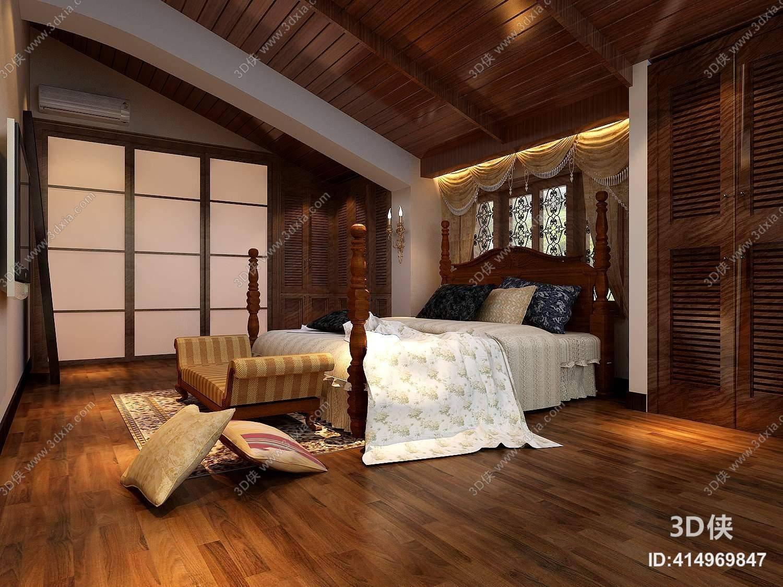 传统美式家居卧室 传统美式木艺双人床 条纹长方形床尾凳图片